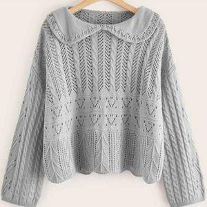 Peter Pan Collar Chunky Knit Sweater